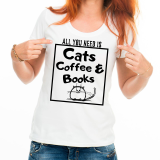 Футболка женская All you need is cats coffee and books