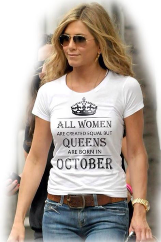 Изображение Футболка женская All women are created equal but queens are born in october, любой месяц