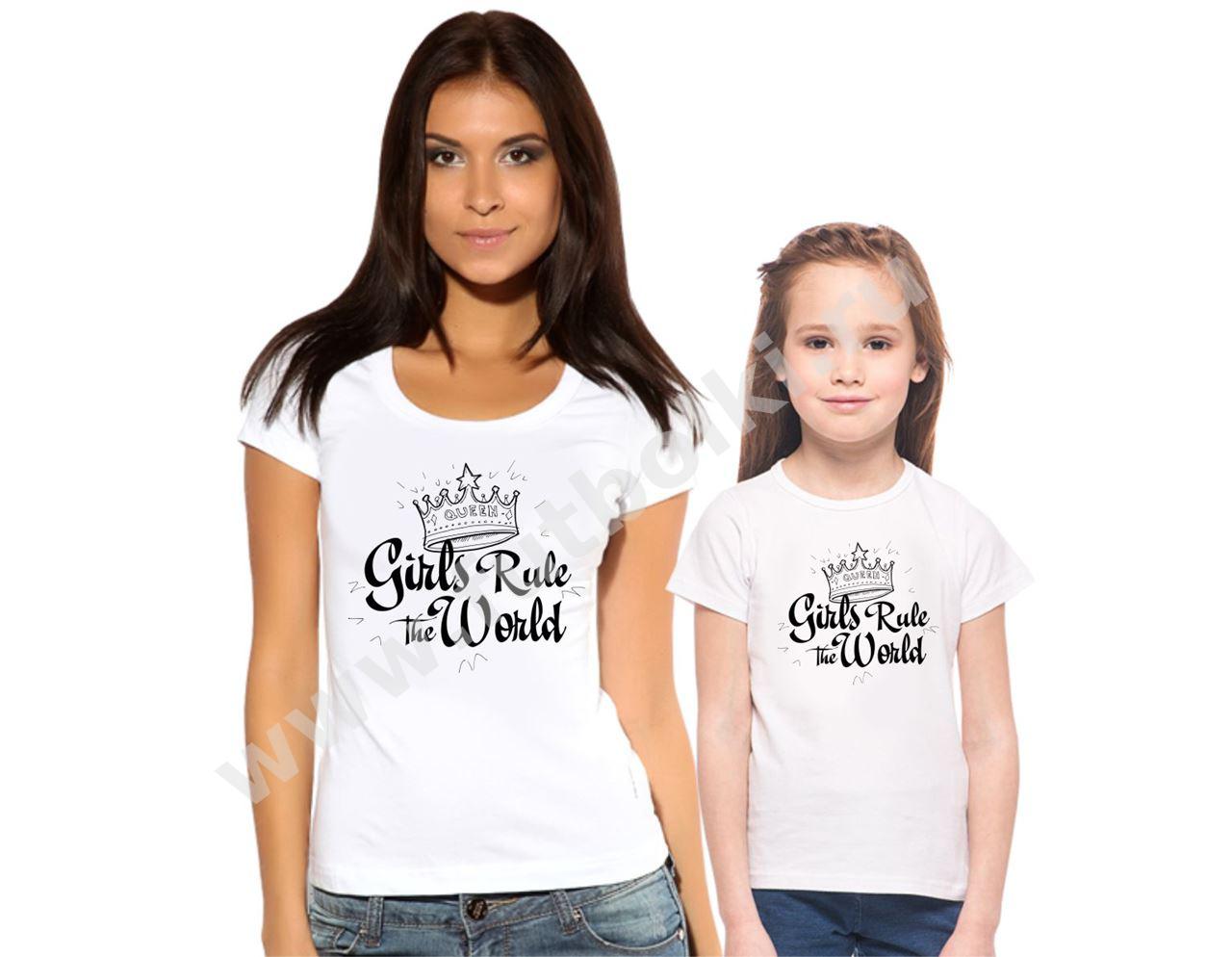 Футболки для мамы и дочки Girls rule the world от 1 650 руб