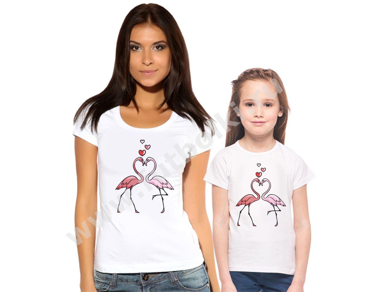 Футболки для мамы и дочки Розовые фламинго от 1 650 руб