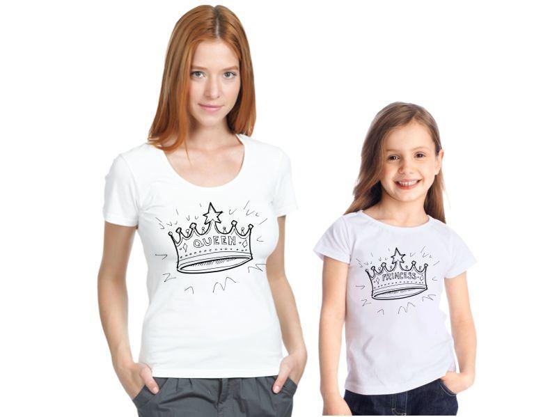 Футболки для мамы и дочки Queen, princess, короны от 1 650 руб
