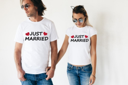 Футболки парные Just married, сердечки