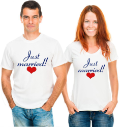 Футболки парные Just married, сердца